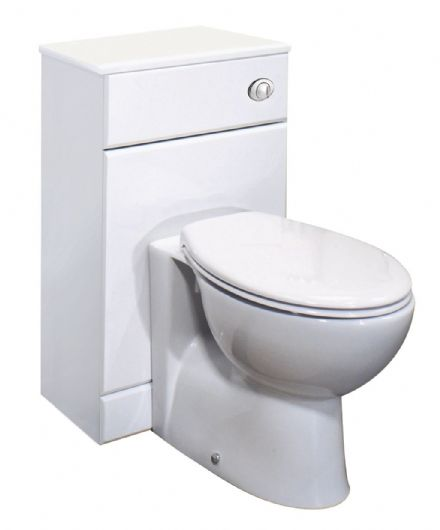 500 X 300mm White High Gloss WC Toilet Furniture Unit & Laura BTW Pan